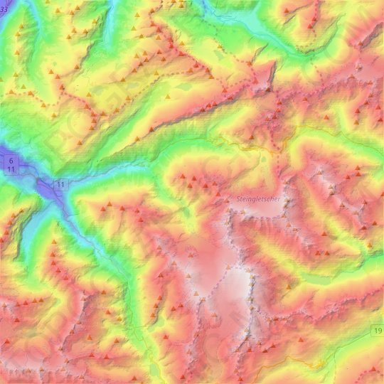 Gadmen topographic map, relief, elevation