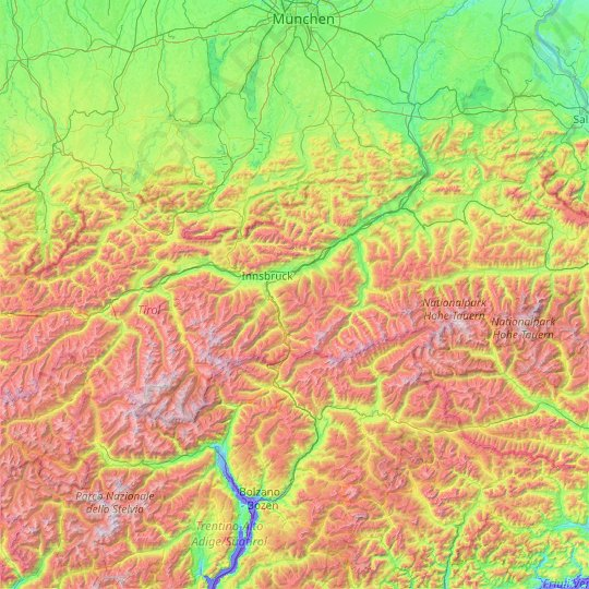 Tyrol topographic map, elevation, relief