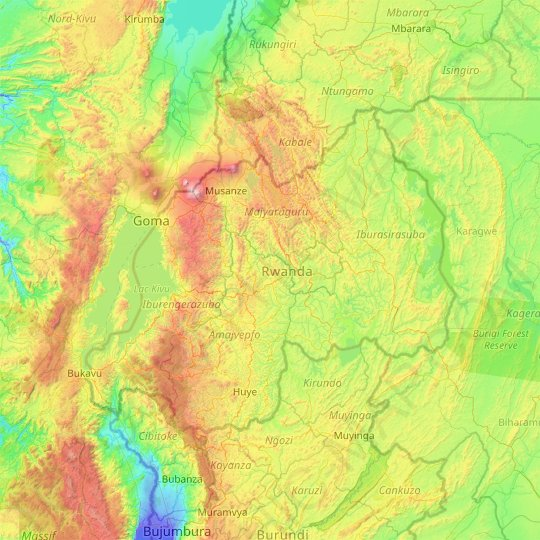 Rwanda topographic map, relief map, elevations map