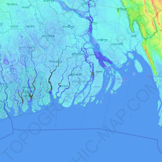 Barisal Division topographic map, elevation, relief