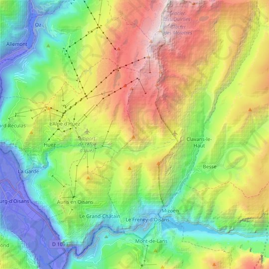 Le Freney-d'Oisans topographic map, relief map, elevations map