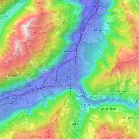 Chur topographic map, relief map, elevations map