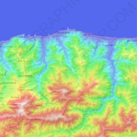 Gouraya topographic map, relief map, elevations map