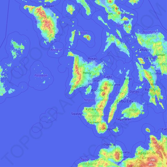 Western Visayas topographic map, relief map, elevations map