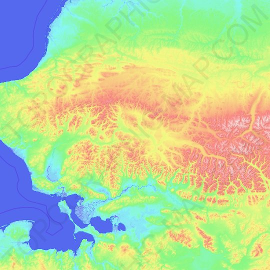 Noatak Wilderness Area topographic map, relief, elevation