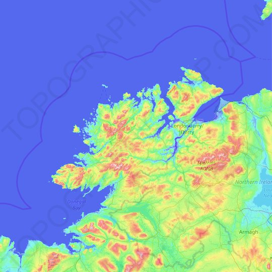 County Donegal topographic map, elevation, relief