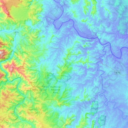 Ramornie topographic map, elevation, relief