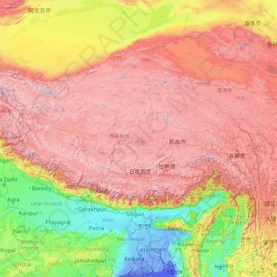 Tibet topographic map, relief map, elevations map
