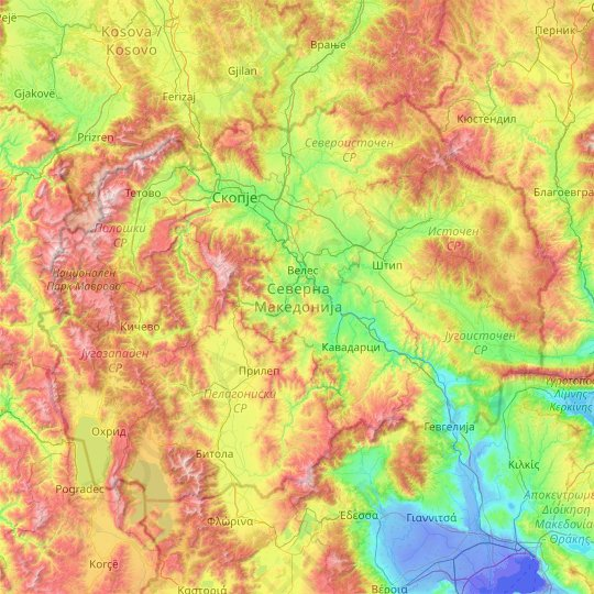 North Macedonia topographic map, elevation, relief