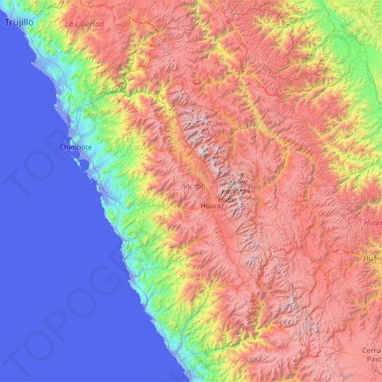 Ancash topographic map, relief map, elevations map