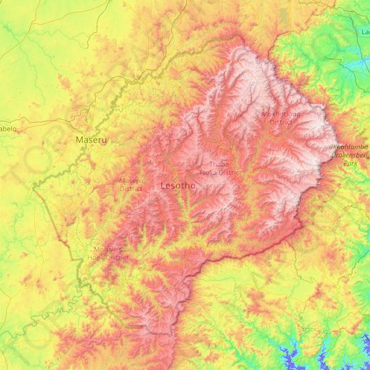 Lesotho topographic map, elevation, relief