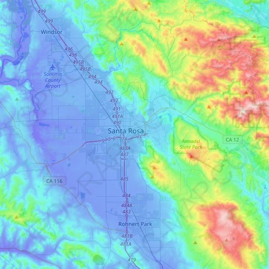 Santa Rosa topographic map, relief map, elevations map