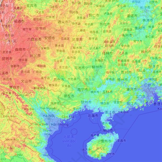 Guangxi topographic map, relief map, elevations map