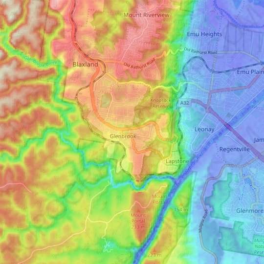 Glenbrook topographic map, relief map, elevations map