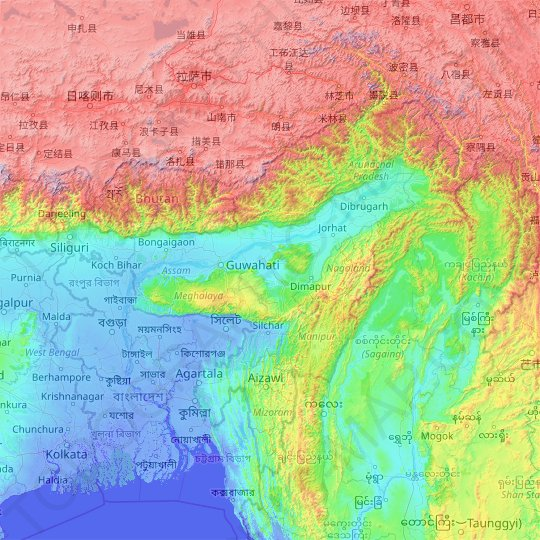 Assam topographic map, elevation, relief
