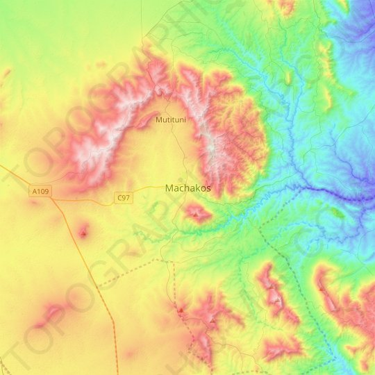 Machakos topographic map, relief map, elevations map
