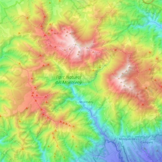 Montseny topographic map, relief map, elevations map