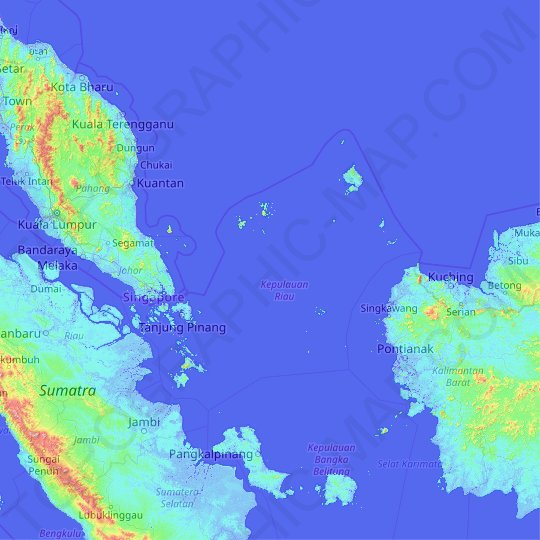 Riau Islands topographic map, elevation, relief