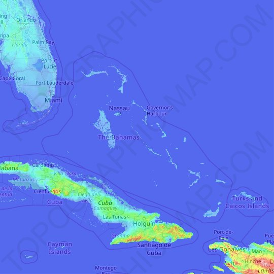 The Bahamas topographic map, relief map, elevations map