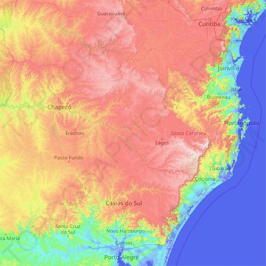 Santa Catarina topographic map, relief, elevation
