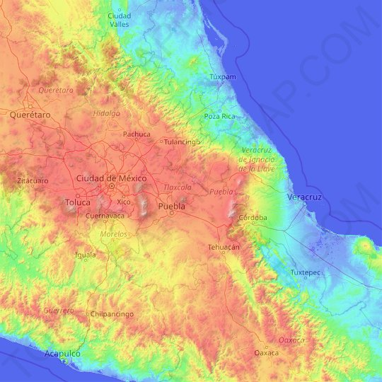 Puebla topographic map, relief map, elevations map