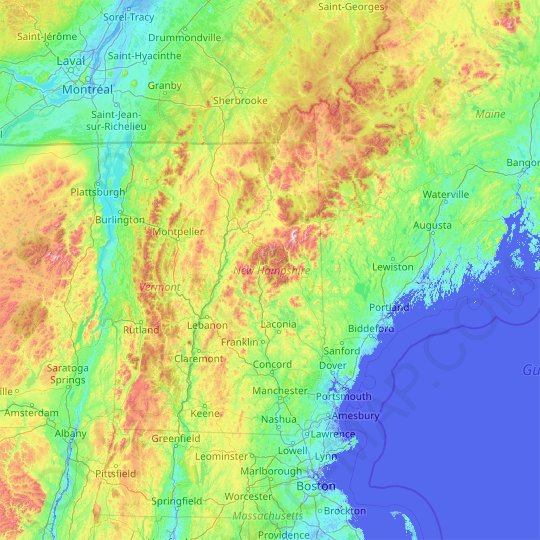 New Hampshire topographic map, elevation, relief