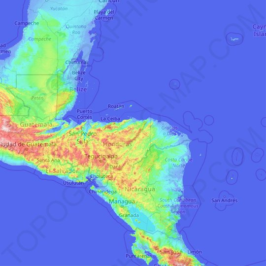 Honduras topographic map, elevation, relief