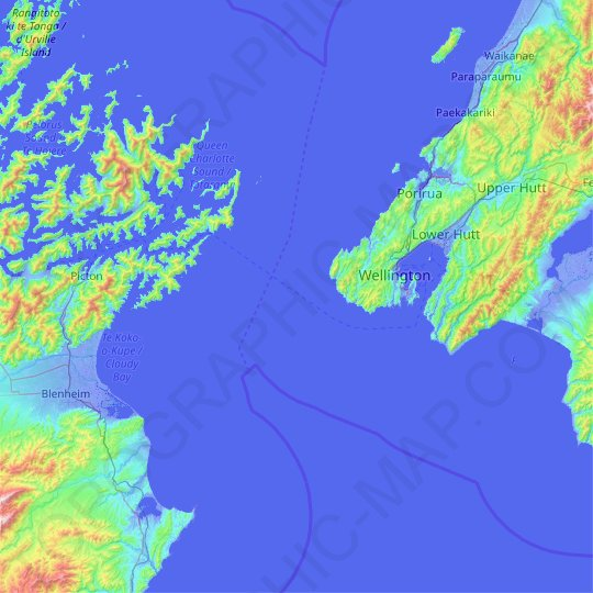 Cook Strait topographic map, elevation, relief
