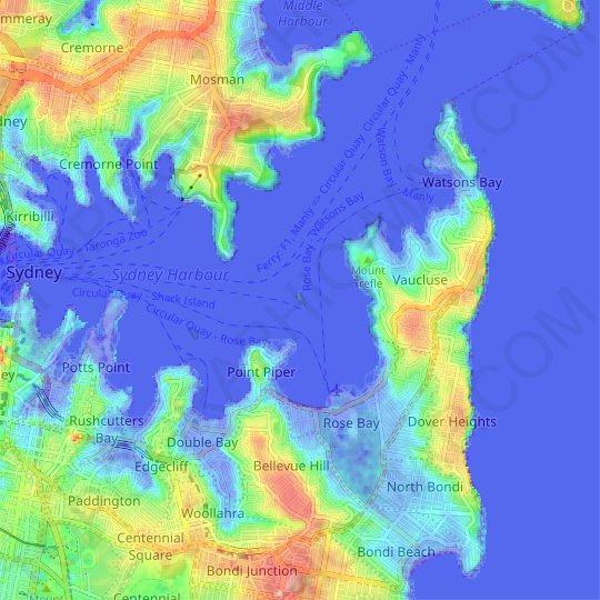Shark Island topographic map, relief map, elevations map