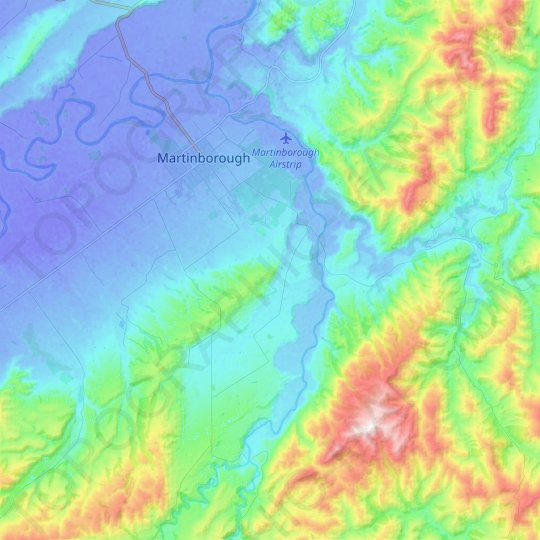 Huangarua River topographic map, elevation, relief