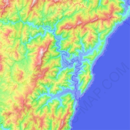 Mataikona River topographic map, elevation, relief